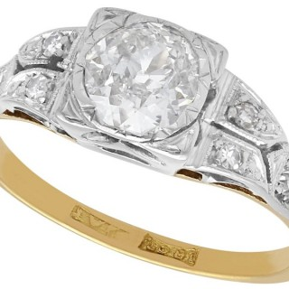 0.80 ct Diamond and 18 ct Yellow Gold Solitaire Ring - Vintage Circa 1940