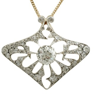 4.21ct Diamond and 18ct Yellow Gold Pendant / Brooch - Antique French Circa 1900