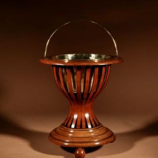 A Dutch Peat bucket Hourglass Shaped Original Inlayed Mahogany Theestoof (Tea Stove) Jardinière.