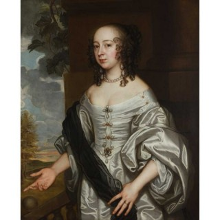 John Greenhill (c.1644-1676) 17th century portrait of a lady in an ivory silk gown, standing on a garden terrace