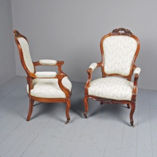 Antique Pair of French Rosewood Armchairs