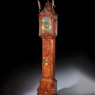 A Magnificent 18th Century Striking Dutch Amsterdam Burr Walnut Longcase clock