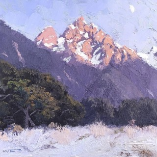 'Frosty Morning by the Earl Mountains, NZ' by Warwick Fuller (born 1948)