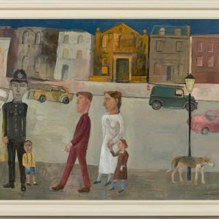 'Policeman, Small Boy and Passers By' by Simon Quadrat PPRWA NEAC (born 1946)