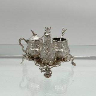 Antique Victorian Sterling Silver Condiment Set on Stand London 1879 George Fox