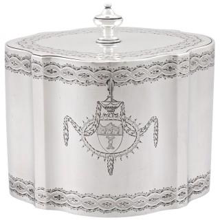 Sterling Silver Locking Tea Caddy - Antique George III (1782)
