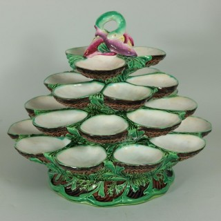 Minton Majolica Four Tiered Oyster Stand