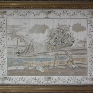 Antique Silkwork Coastal Scene Embroidery