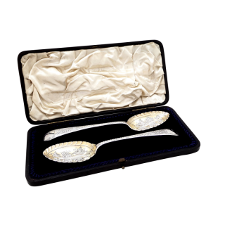 Antique Victorian Sterling Silver Berry Spoons in Presentation Case 1897