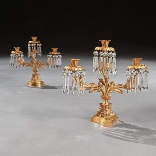 Pair of Early 19th Century Gilt Bronze and Lustres Three Branch Candelabra