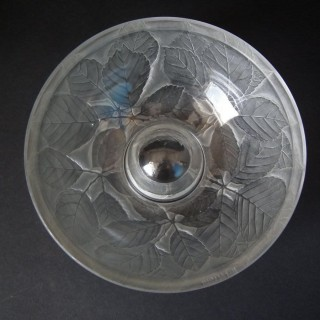 Rene Lalique Clear and Frosted Glass 'Cernay' Inkwell