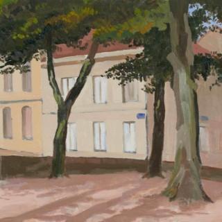 'Place St. Louis, Autun, France' by Luke Dillon-Mahon (1917-1997)