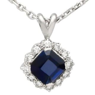 2.35ct Sapphire and 0.32ct Diamond, Platinum Cluster Pendant - Vintage Circa 1970