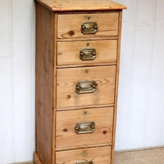 Tall Slim Pine Chest Of Drawers