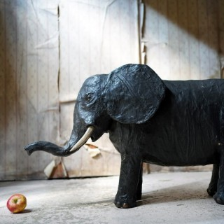 A Large Mid-20thC Painted Papier-mâché Nodding Elephant c.1940-60