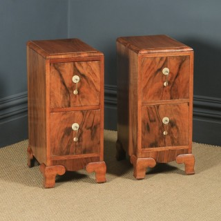 Antique Pair of English Art Deco Figured Walnut Bedside Chest Tables Nightstands (Circa 1930)
