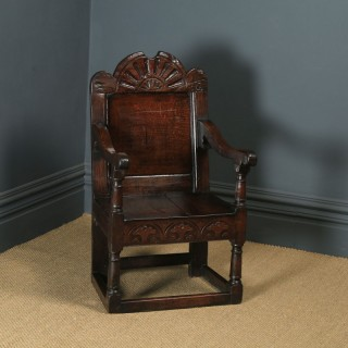 Antique English 17th Century Solid Oak Joined Wainscot Hall Arm Chair (Circa 1680)