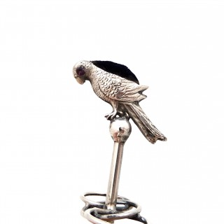 Antique Edwardian Sterling Silver 'Parrot' Hat Pin Cushion / Stand 1907