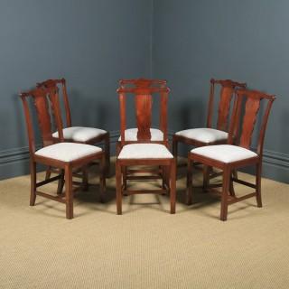 Antique English Set of Six 6 Georgian Style Victorian Mahogany Dining Chairs (Circa 1880)