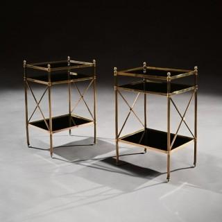 Pair of Maison Bagues Brass & Glass Etageres Louis XVI Style