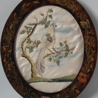 Antique Silkwork Embroidery of a Bird of Paradise