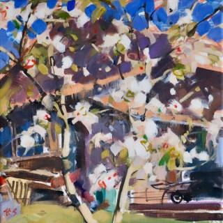 'Apple Blossom, Wheelbarrow' by Richard Sowman