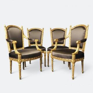 Set of Four 18th Century Louis XVI Giltwood Chairs