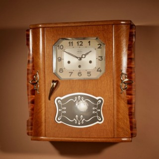 A Westminster Girod Carillon Oak, Rosewood Wall Clock French circa 1955
