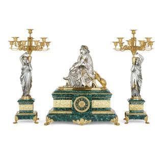 French ormolu and silvered bronze mounted malachite three-piece clock set