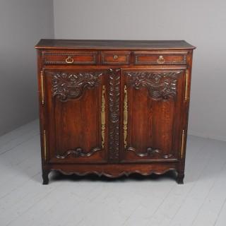 Antique Northern French Carved Oak Side Cabinet