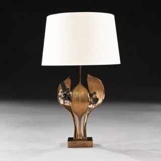 Impressive 1970 Gilt Bronze and Quartz Lamp by Willy Daro