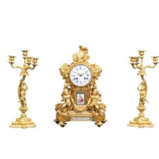 A GILT BRONZE SÈVRES STYLE CLOCK SET, LOUIS XV STYLE, FRANCE, 19TH CENTURY
