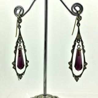 Edwardian Silver and Paste Drop Earrings