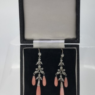 Silver and Coral Drop Earrings