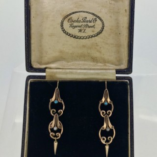Gold  Turquoise and Pearl Drop Earrings