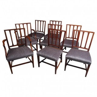 Antique Set of 8 George III Mahogany Dining Chairs