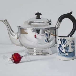 'Silver Teapot with Chocolate and Cup' by Alan Kingsbury RWA (born 1960)