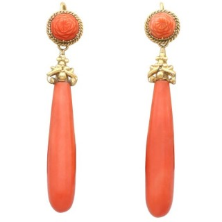 Coral and 20ct Yellow Gold Drop Earrings - Antique Circa 1830