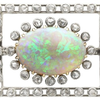 2.23ct Opal and 0.82ct Diamond, 9ct Yellow Gold Brooch - Antique Circa 1900