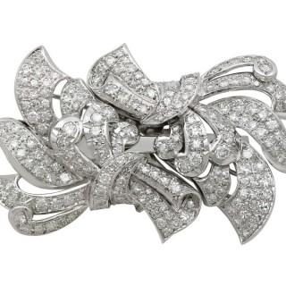 6.23ct Diamond and 18ct White Gold, Platinum Set Brooch - Vintage Circa 1940