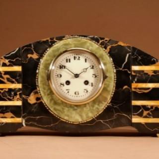 Art Deco Marble Clock Garniture French Circa 1940.