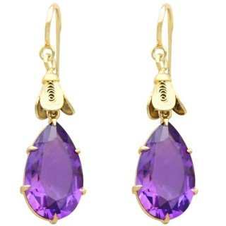 9.58ct Amethyst and 15ct Yellow Gold Drop Earrings - Antique Circa 1890