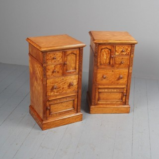 Antique Pair of Satinwood Bedside Cabinets by M. Woodburn