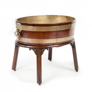 George III period mahogany and brass bound wine cooler, attributable to Gillows