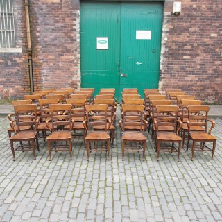 Rare Antique Set of 34 American Oak Chairs