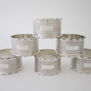 Antique Sterling Silver Napkin Rings - 1939