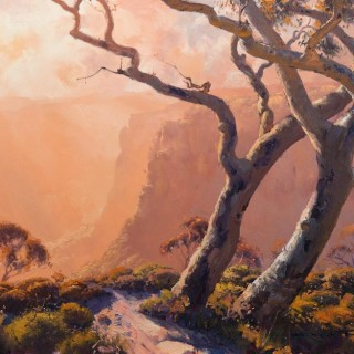 'Gold Light in the Blue Mountains' by Warwick Fuller (born 1948)