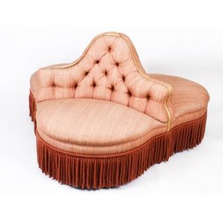 Antique Victorian Love Seat Conversation Settee C1850 19th Century