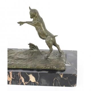 Antique Art Deco Bronze Figure of Maiden & Lamb by Henri. Fuere C1920
