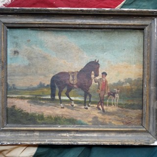 A Late 19thC French Provincial Naïve School Oil on Canvas of a Rural Scene; 1880; M. Gilbert